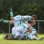 St Anthony's FC V St Rochs FC, SJFA West Region, Central District, Division 1Pile oan!  St Anthony's Midfielder Graeme Crawford (7) tops the pile, somewhere in there is goalscorer St Anthony's Midfielder Ryan Smith (12)!