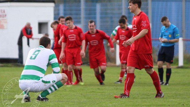 Craigmark Burntonians FC v St Anthony's FC, SJFA New Coin Holdings West of Scotland Cup Round 1, 10th October 2015St Anthony's Forward Kyle Brown (9) looks on as Craigmark celebrate ending the Ants chances of victory