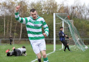 St Anthony's FC v Larkhall Thistle FC SJFA West Region Central District Division 1 14th November 2015St Anthony's Forward Wullie Duncan (11) celebrates his 7th minute opener