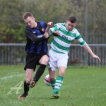 St Anthony's FC v Larkhall Thistle FC SJFA West Region Central District Division 1 14th November 2015  St Anthony's Midfielder Dean McKay (7) and his Larkhall counterpart get a little ahead of the ball