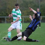 St Anthony's FC v Larkhall Thistle FC SJFA West Region Central District Division 1 14th November 2015  An excellent challenge from the Larkhall defender