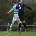 St Anthony's FC v Larkhall Thistle FC SJFA West Region Central District Division 1 14th November 2015  Another headed challenge for St Anthony's Midfielder Dean McKay (7)