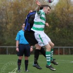 St Anthony's FC v Larkhall Thistle FC SJFA West Region Central District Division 1 14th November 2015  St Anthony's Forward Wullie Duncan (11) wins another header