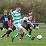 St Anthony's FC v Larkhall Thistle FC SJFA West Region Central District Division 1 14th November 2015  St Anthony's Forward Wullie Duncan (11) rounds the Larkhall keeper and slides the ball goalwards