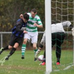 St Anthony's FC v Larkhall Thistle FC SJFA West Region Central District Division 1 14th November 2015  Some tough challenging on the Larkhall goal line