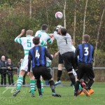 St Anthony's FC v Larkhall Thistle FC SJFA West Region Central District Division 1 14th November 2015  The Larkhall keeper gets above St Anthony's Defender James Ross (5) and St Anthony's Midfielder Thomas Miller (8)