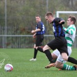 St Anthony's FC v Larkhall Thistle FC SJFA West Region Central District Division 1 14th November 2015  St Anthony's Midfielder Findlay McKenzie (6) challenges in midfield