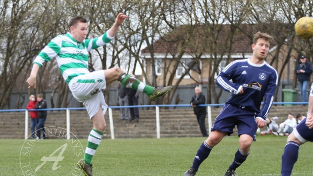 Vale of Clyde FC v St Anthony's FC, West Region, Central District, Division 1, 09/04/2016St Anthony's Midfielder Dean McKay (7) controls a clearance on his chest before looping the ball towards the Vale goal!!!  Vale of Clyde FC v St Anthony's FC, West Region, Central District, Division 1, 09/04/2016, Fullarton Park, Glasgow, Scotland