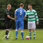 St Anthony's FC v Benburb FC, SJFA West Region Sectional League Cup, 13/08/2016Ants captain Thomas Miller gets ready for kickoff.  St Anthony's FC v Benburb FC, SJFA West Region Sectional League Cup, 13/08/2016, McKenna Park, Glasgow, Scotland
