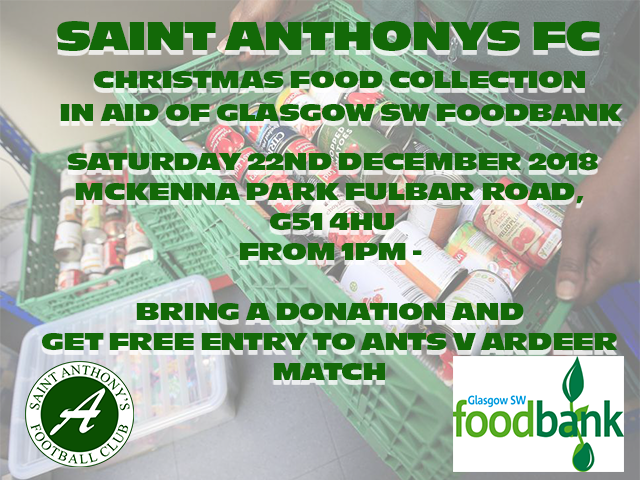 Ants foodbank collection – Sat 22nd December 2018